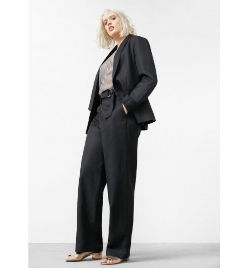 MANGO Plus Size Linen Cotton-Blend Blazer