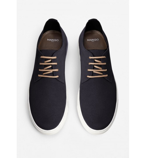 MANGO Lace-Up Suede Sneakers