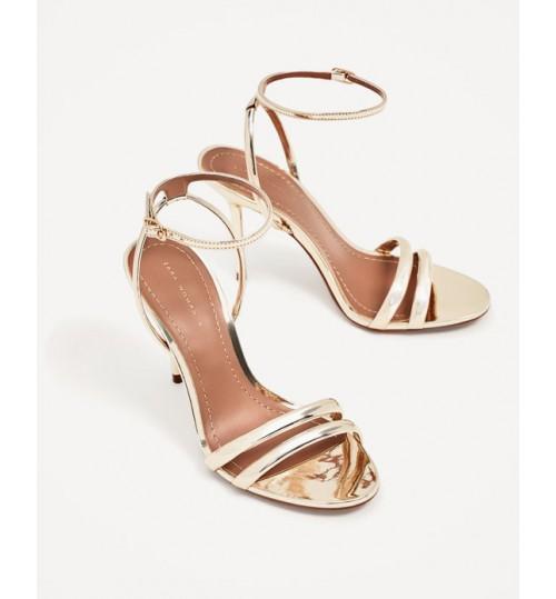 ZARA Golden Strappy High Heel Sandal