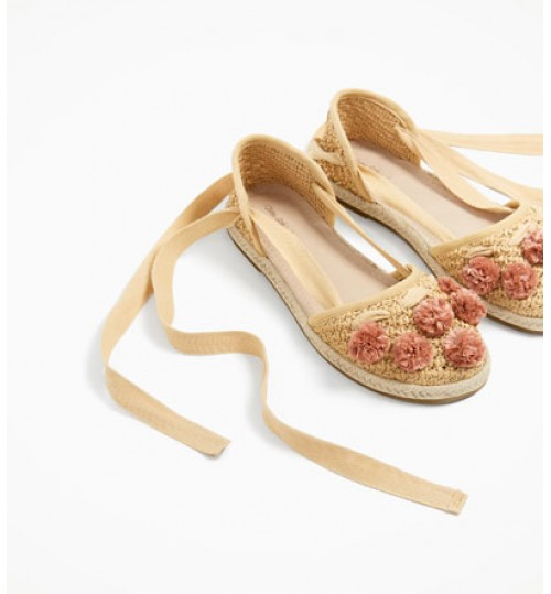 ZARA Kids D'orsay Shoes With Pompoms