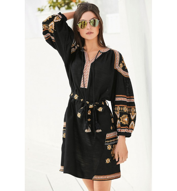 0ea1f324db7 Next Black Embroidered Long Sleeve Dress