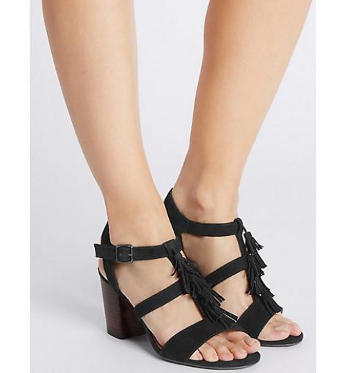 Marks & Spencer Suede Angular Heel Tassel Sandals