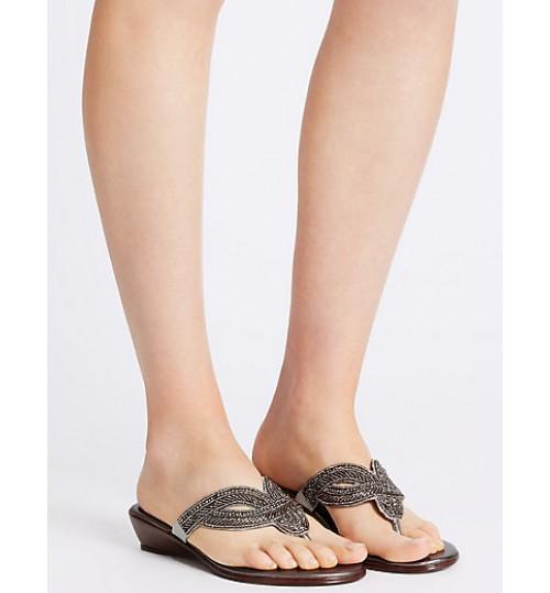 Marks & Spencer Wedge Heel Bling Mule Sandals