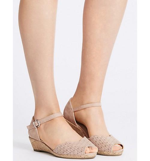 Marks & Spencer Wide Fit Suede Wedge Heel Sandals