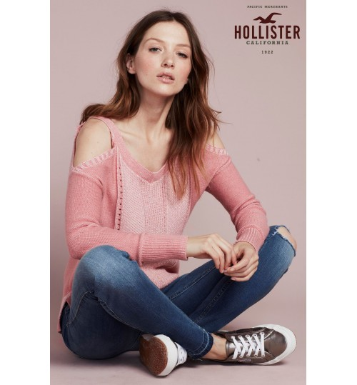 Hollister Pink Cold Shoulder Jumper