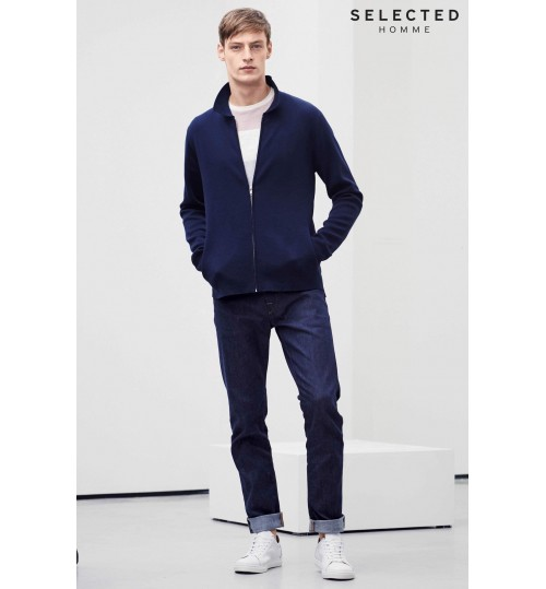 Selected Homme Navy Knitted Jacket