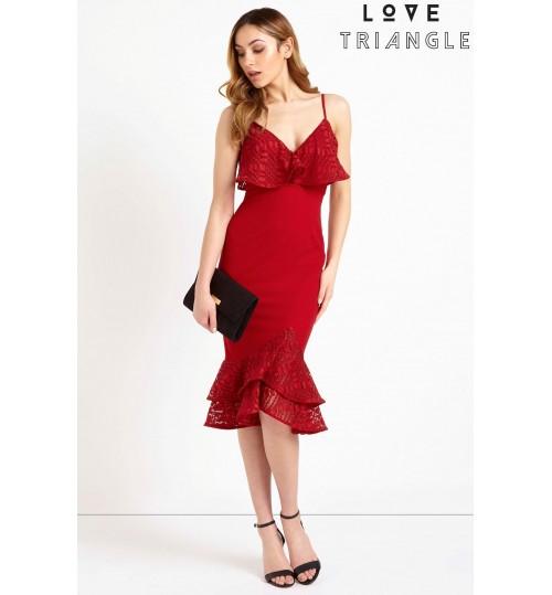 Love Triangle Ruffle Hem Midi Dress
