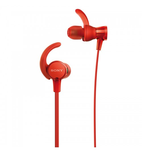 Sony Headphones, Extra Bass,MDR-XB510AS, In-Ear Sports Headphones with Mic,Red
